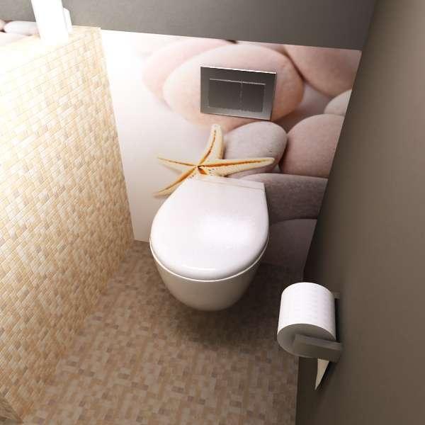 Rückwand Toilette Steine und Seestern