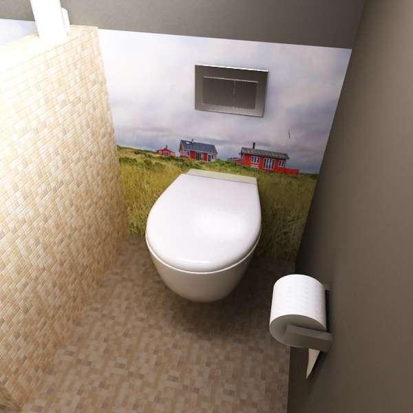 Rückwand Toilette Landschaft mit Häusern