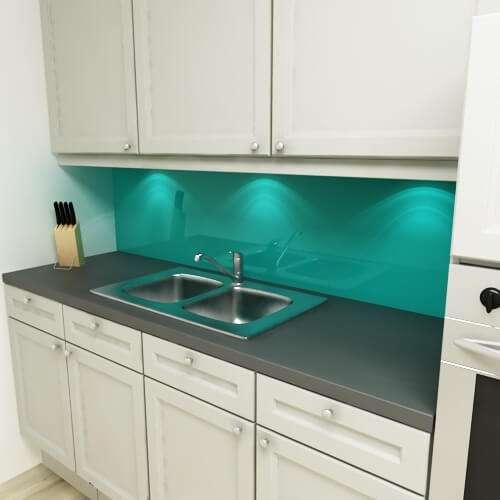 Küchenrückwand uni türkisblau