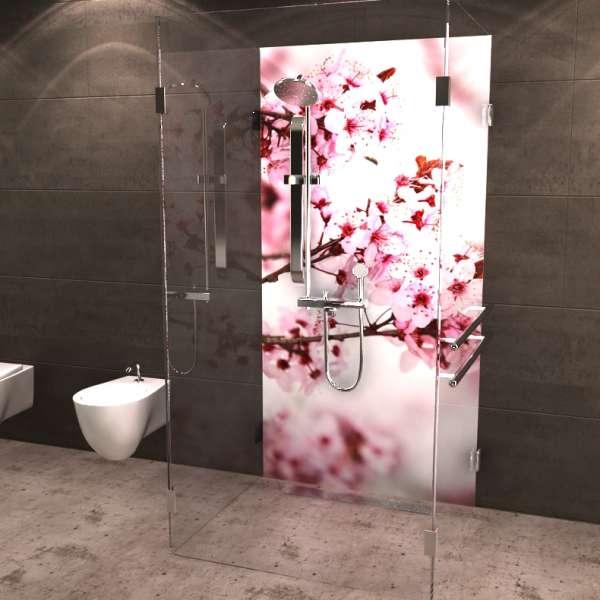Duschrückwand Kirschblüten