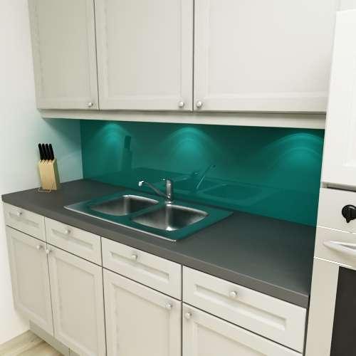 Küchenrückwand uni petrol