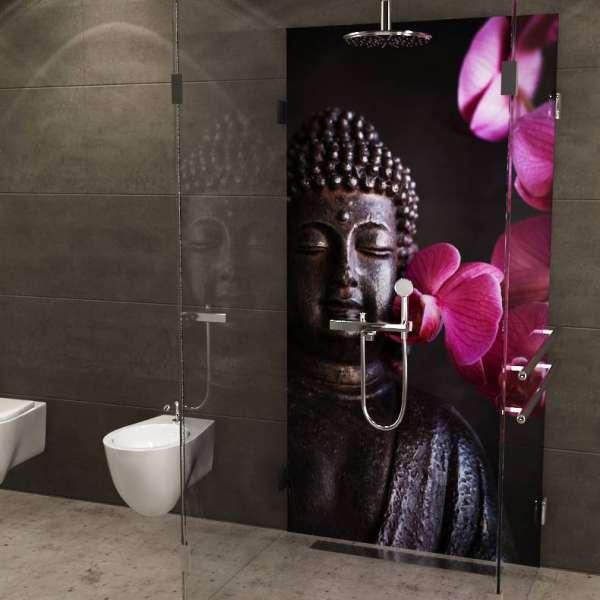 Duschrückwand Buddha mit Orchideen