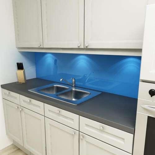 Küchenrückwand uni signalblau