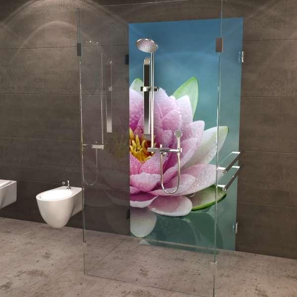 Duschrückwand Lotusblume im Anschnitt