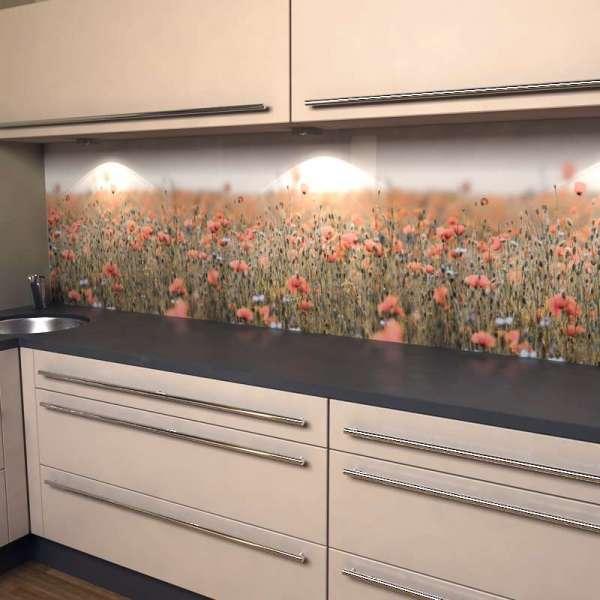 Küchenrückwand rosa Mohnfeld