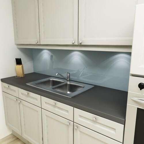 Küchenrückwand uni taubenblau