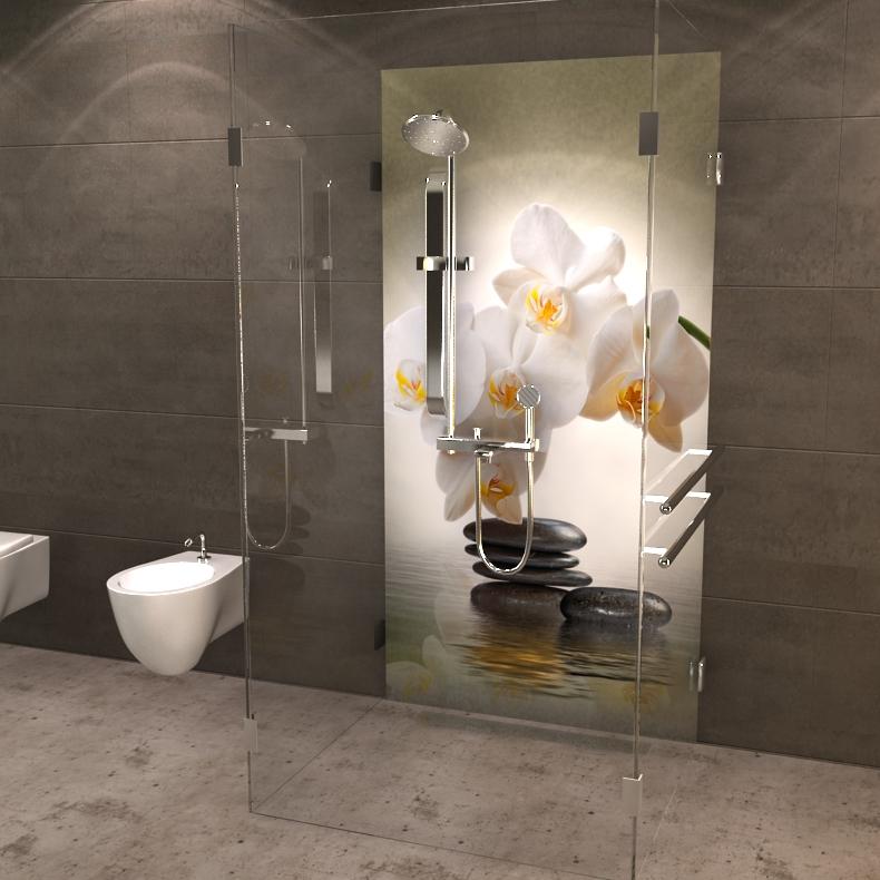 duschr ckwand orchideenbl te ber wasser. Black Bedroom Furniture Sets. Home Design Ideas