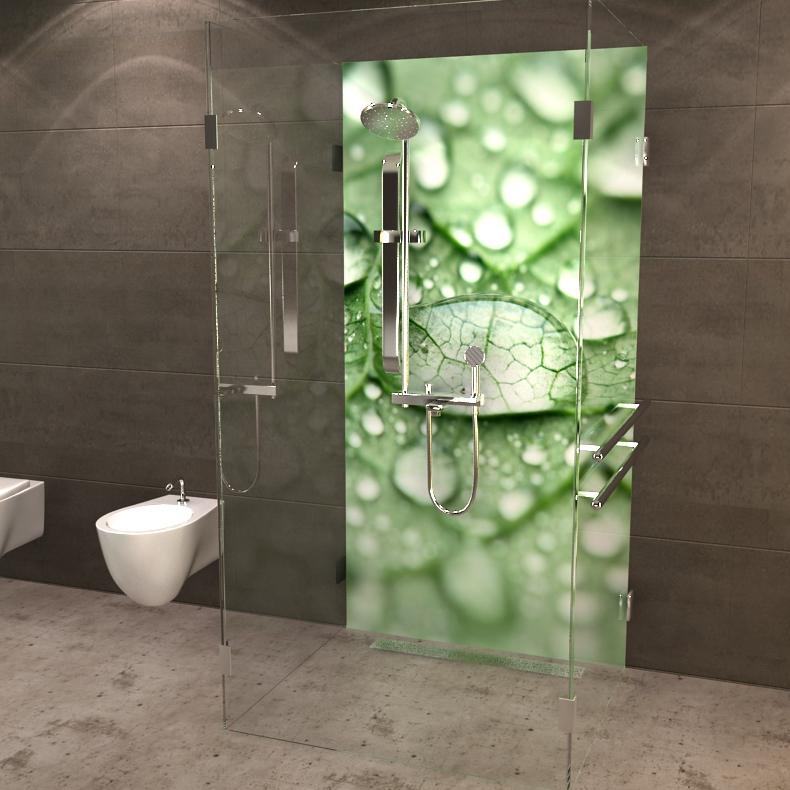 deine neue duschr ckwand wassertrofen auf blatt. Black Bedroom Furniture Sets. Home Design Ideas